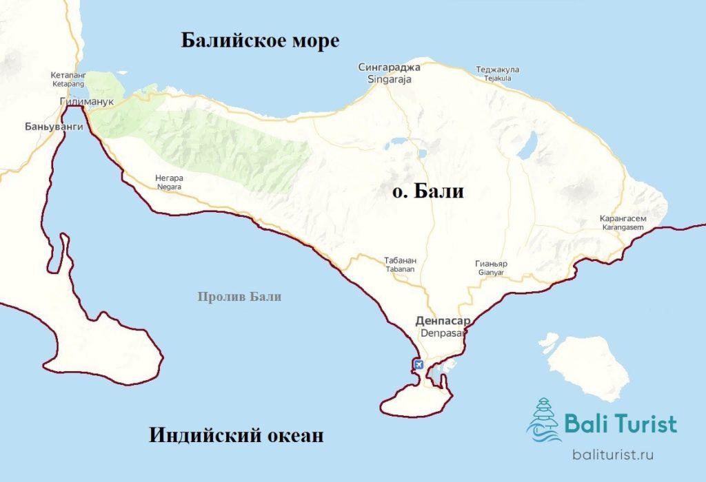 Что омывает Бали - граница между Индийским океаном и балийским морем на карте