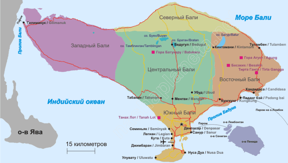 Карта с обозначением сторон света и акваторий на острове Бали