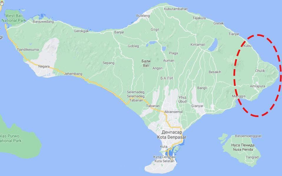 Пляжи на восточном побережье острова Бали