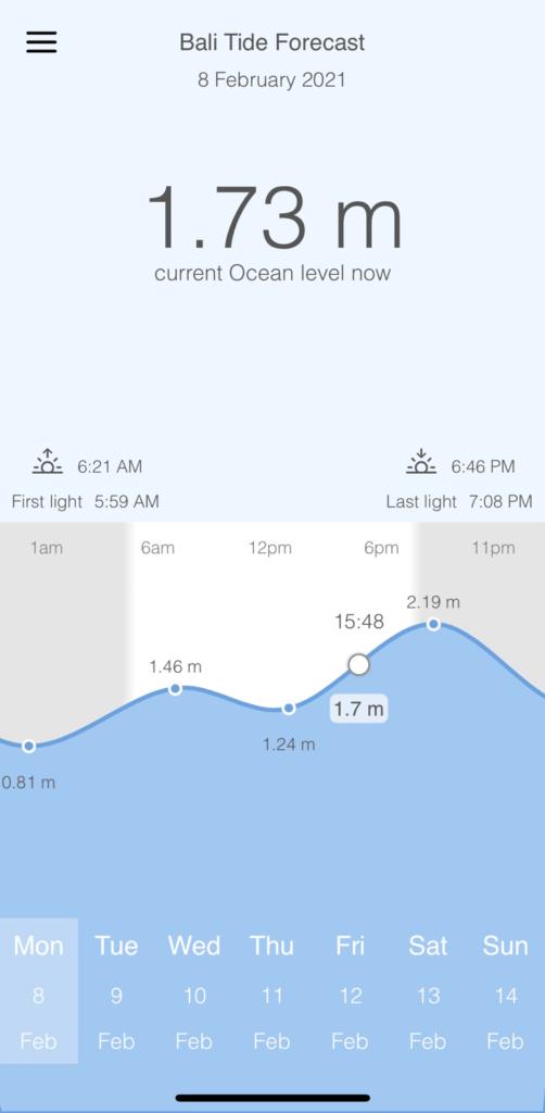 Основная часть экрана занята графиком с часами и показателями уровня воды