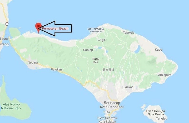 Расположение пляжа Пемутеран на карте Бали