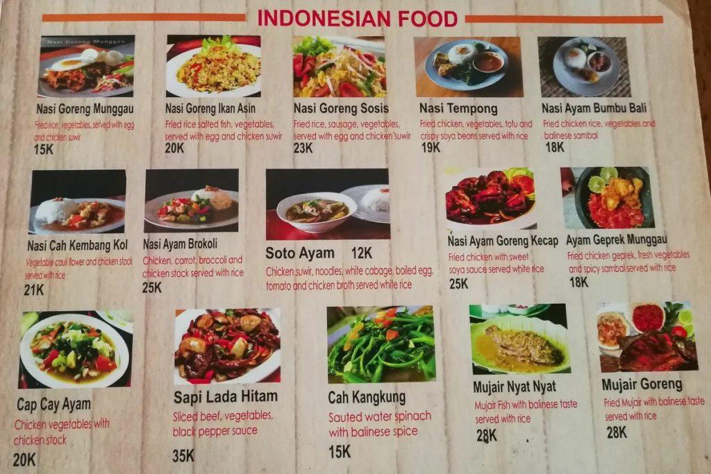 Традиционное меню в варунге на Бали