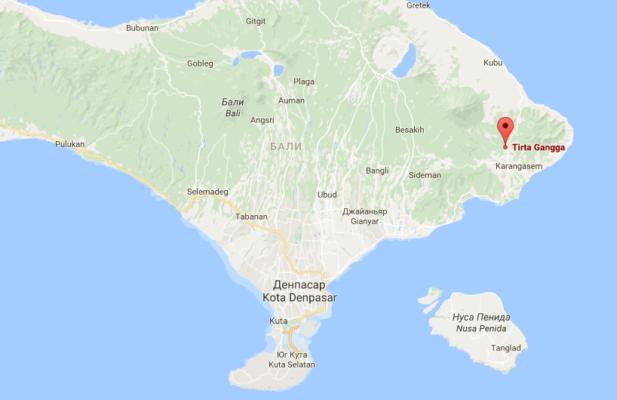 Водный дворец Тирта Гангга на карте Бали