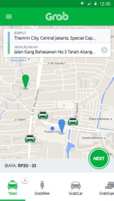 Выбор авто в приложении Grab