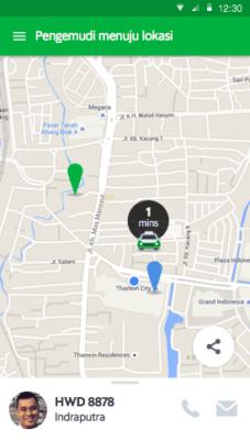 Выбор таксиста в приложении Граб